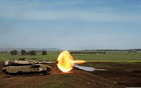 Картинка explosion, fire, Tank, flash, range, practice, muzzel