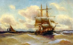 Картинка картина, корабль, лодка, шторм, Alfred Jansen, море, волны, паруса, небо, пейзаж