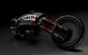 Картинка фантастика, мотоцикл, пулемет, bike, rendering