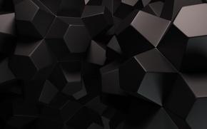 Картинка абстракция, фон, черный, грани, рендер