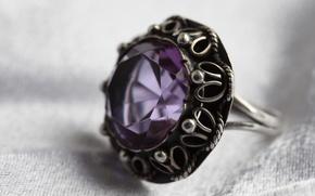 Картинка украшения, серебро, кольцо, камень.аметист