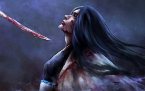 Картинка девушка, кровь, меч, капитан, плащ, Bleach, Блич, art, синигами, nanfe, отчаянье, unohana retsu
