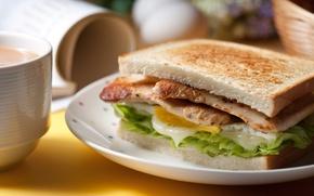 Картинка яйцо, хлеб, мясо, бутерброд