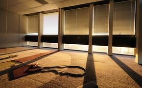 Обои стекло, лучи, свет, ситуации, стена, стены, здание, окна, здания, дома, ситуация, тень, утро, окно, пол, ...