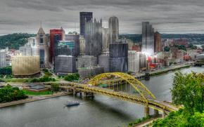 Картинка мост, река, HDR, дома, небоскребы, США, Питтсбург