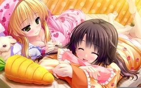 Обои девушка, игрушка, морковка, кролик, арт, девочка, зайчик, лежа, uisaki hinano, prism recollection, kugayama konoka, shintaro