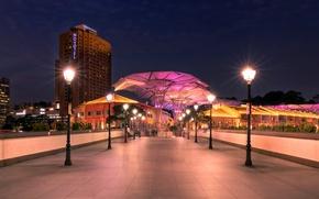 Картинка ночь, улица, фонари, Сингапур