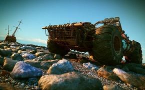 Обои камни, лодка, внедорожник