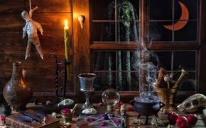 Картинка магия, яблоки, череп, шар, свеча, месяц, перья, окно, котелок, книга, колбы, пентаграмма, кубок, хеллоуин, ступка, …