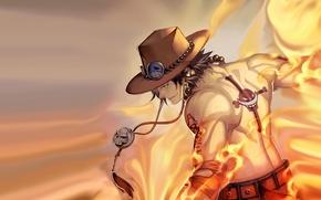 Картинка огонь, шляпа, аниме, арт, парень, One Piece