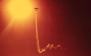 Картинка небо, солнце, полет, авиация, небеса, дым, скорость, вечер, шлейф, самолеты, воздух, трюки