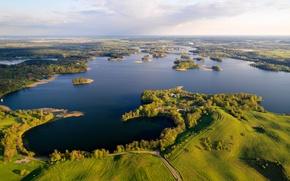 Картинка поля, красота, озера, панорама, Литва, Trakai Historical National Park