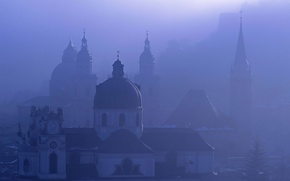 Обои туман, австрия, зальцбург