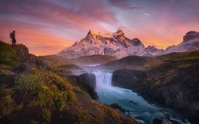 Картинка пейзаж, река, рассвет, гора