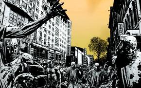 Картинка город, улица, толпа, зомби