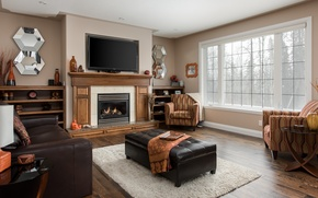 Картинка дизайн, ковер, кресла, камин, зеркала, гостиная