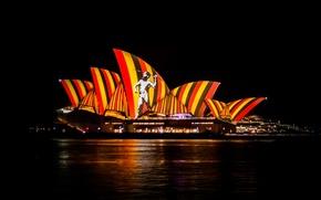 Картинка ночь, огни, Австралия, Сидней, оперный театр