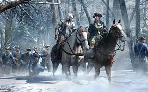 Картинка sword, gun, pistol, USA, weapon, hat, war, snow, tree, man, army, leather, Assassin's Creed, american, …