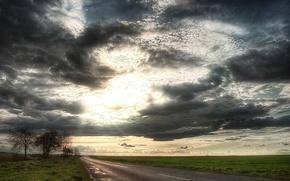 Обои поле, солнце, облака, Дорога