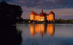 Картинка закат, озеро, пруд, замок, вечер, Германия, Морицбург