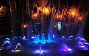 Картинка ночь, огни, light, night, Сочи, поющие фонтаны