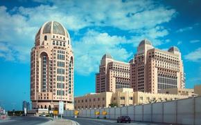 Картинка дорога, здания, отель, Qatar, Doha, Доха, Катар, The St Regis Doha