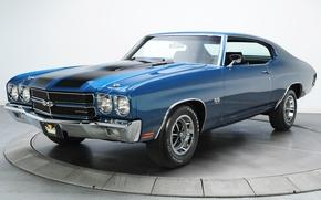 Картинка синий, ретро, шевроле, мускул кар, chevrolet, muscle car, 1970, chevelle, chevy, шевиль