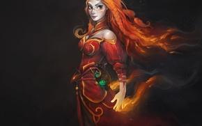 Картинка девушка, пламя, магия, искры, DotA, Defense of the Ancients, Lina Inverse