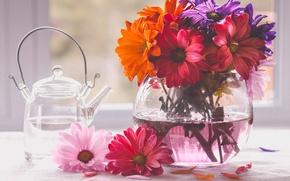 Картинка букет, чайник, ваза