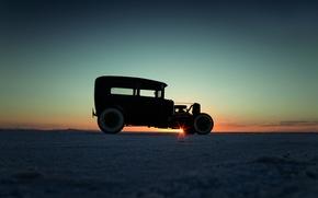 Обои лимузин, боком, закат