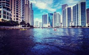 Картинка вода, здания, дома, Майами, Флорида, Miami, высотки, florida