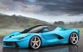 Картинка Феррари, Ferrari, Суперкар, LaFerrari, ЛаФеррари, Tiffany Blue