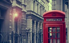 Обои свет, city, город, дом, фонарь, light, house, london, телефонная будка, lamp, call-box, 1920x1286