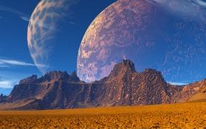 Картинка космос, горы, фантастика, планета
