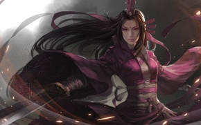 Картинка девушка, меч, арт, азиатка, клинок