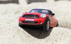 Обои игрушка, мини, мини купер, моделька, автомобиль, пляж