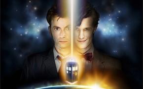 Обои космос, звезды, фантастика, сериал, Doctor Who, Доктор Кто, тардис, полицейская будка, David Tennant, Дэвид Теннант, ...