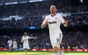 Картинка футбол, звезда, клуб, Спорт, форма, футболист, football, игрок, Реал Мадрид, Real Madrid, Benzema, Бензема, Карим …