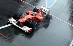 Картинка дождь, болид, ferrari, феррари, формула-1, formula-1, alonso, алонсо, fernando, сильверстоун, f2012, фернандо