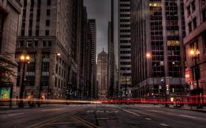 Картинка дорога, ночь, город, огни, здания
