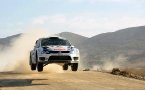 Картинка Небо, Авто, Белый, Спорт, Volkswagen, Машина, Капот, День, Red Bull, WRC, Rally, Ралли, Передок, Polo, …