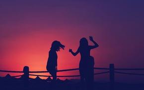 Обои girls, sunset, silhouettes
