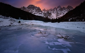 Обои озеро, лед, горы, пейзаж, природа
