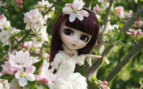 Картинка дерево, весна, кукла, девочка, яблоня, цветение