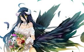 Картинка девушка, цветы, улыбка, букет, аниме, арт, рога, bba biao, albedo, overlord