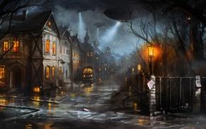Картинка машина, город, улица, дома, вечер, фонари