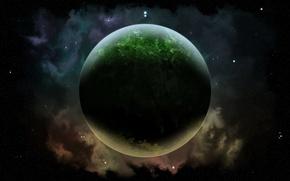 Обои газ, планета, звезды