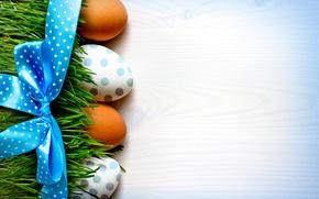 Картинка трава, фон, праздник, яйца, Пасха, лента, бант, Easter