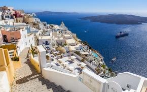 Картинка корабль, Греция, дома, залив, побережье, море, Santorini, солнце, горизонт