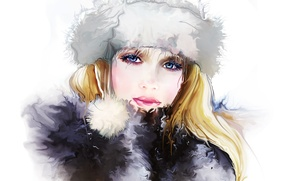 Картинка зима, глаза, взгляд, девушка, лицо, ресницы, шапка, волосы, Tatiana Nikitina